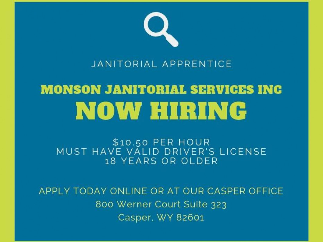 NOW HIRING FOR JANITORIAL JOBS